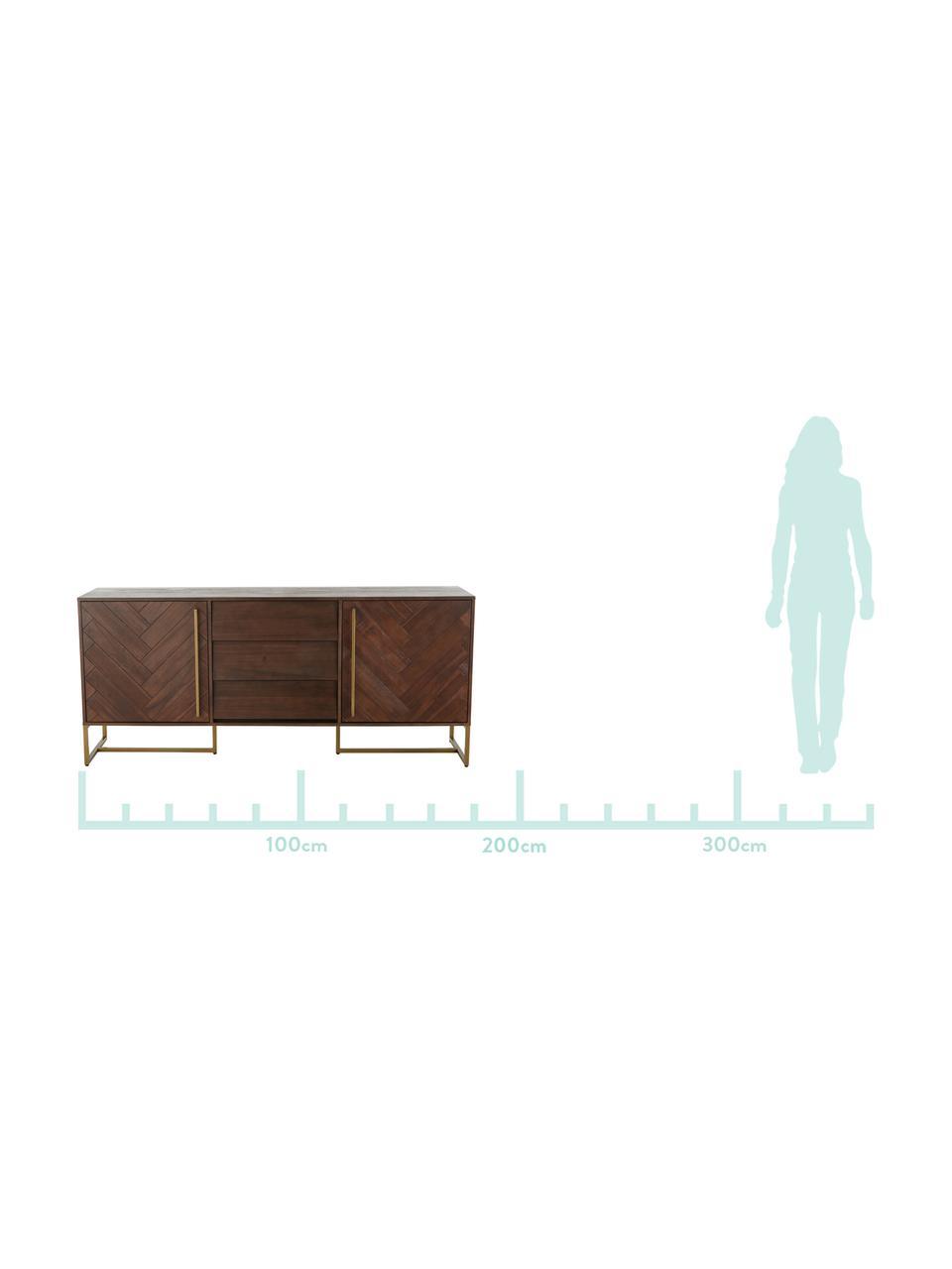 Fischgrät-Sideboard Class mit Türen und Akazienholzfurnier, Korpus: Mitteldichte Holzfaserpla, Akazienholz, Messingfarben, 180 x 80 cm