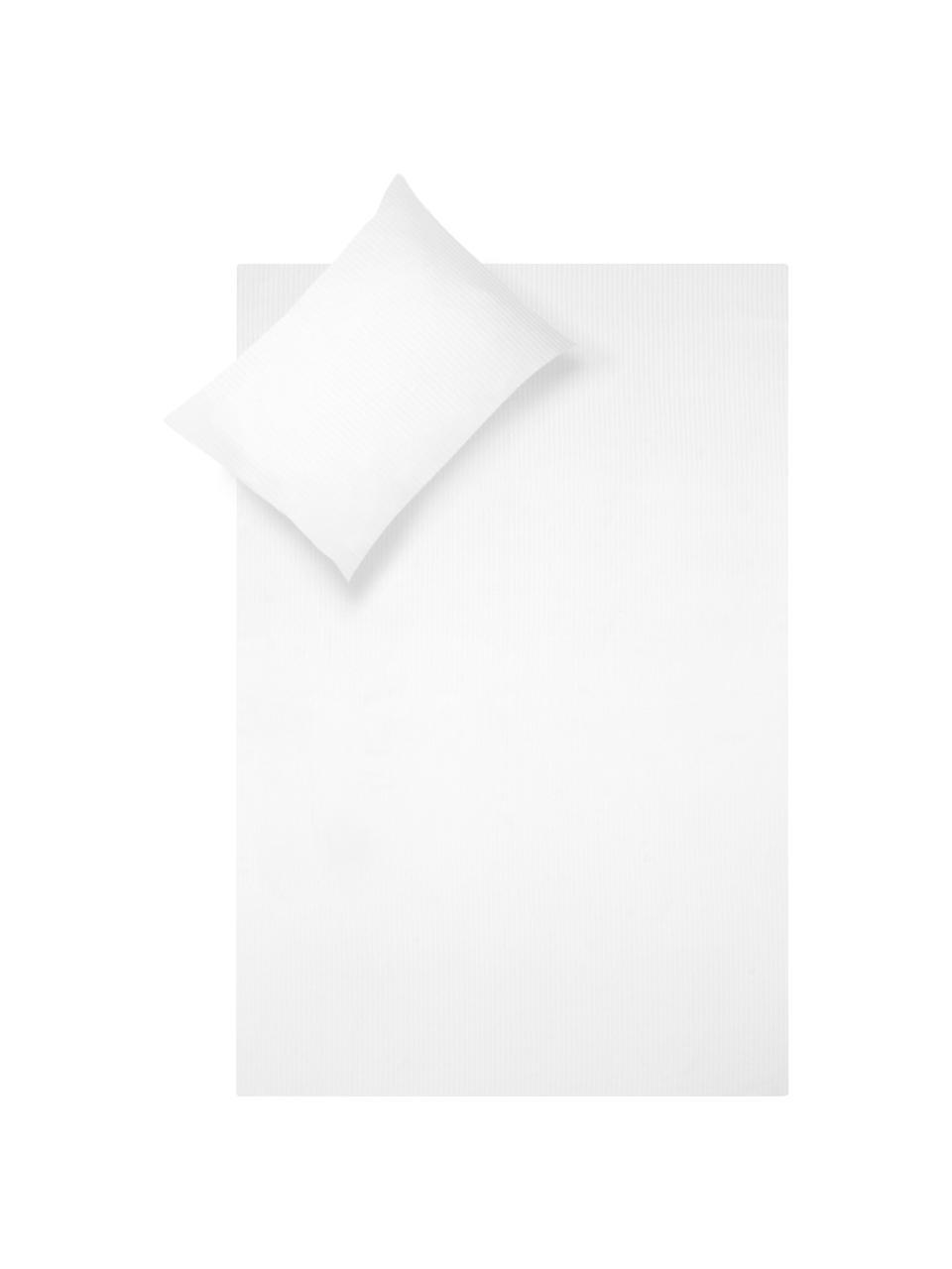 Parure copripiumino in raso di cotone Stella, Tessuto: raso Densità del filo 250, Bianco, 255 x 200 cm