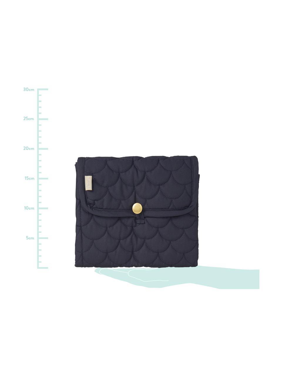 Wickelmatte Wave aus Bio-Baumwolle, Bezug: 100% Biobaumwolle, OCS-ze, Dunkelblau, Mintgrün, 19 x 23 cm
