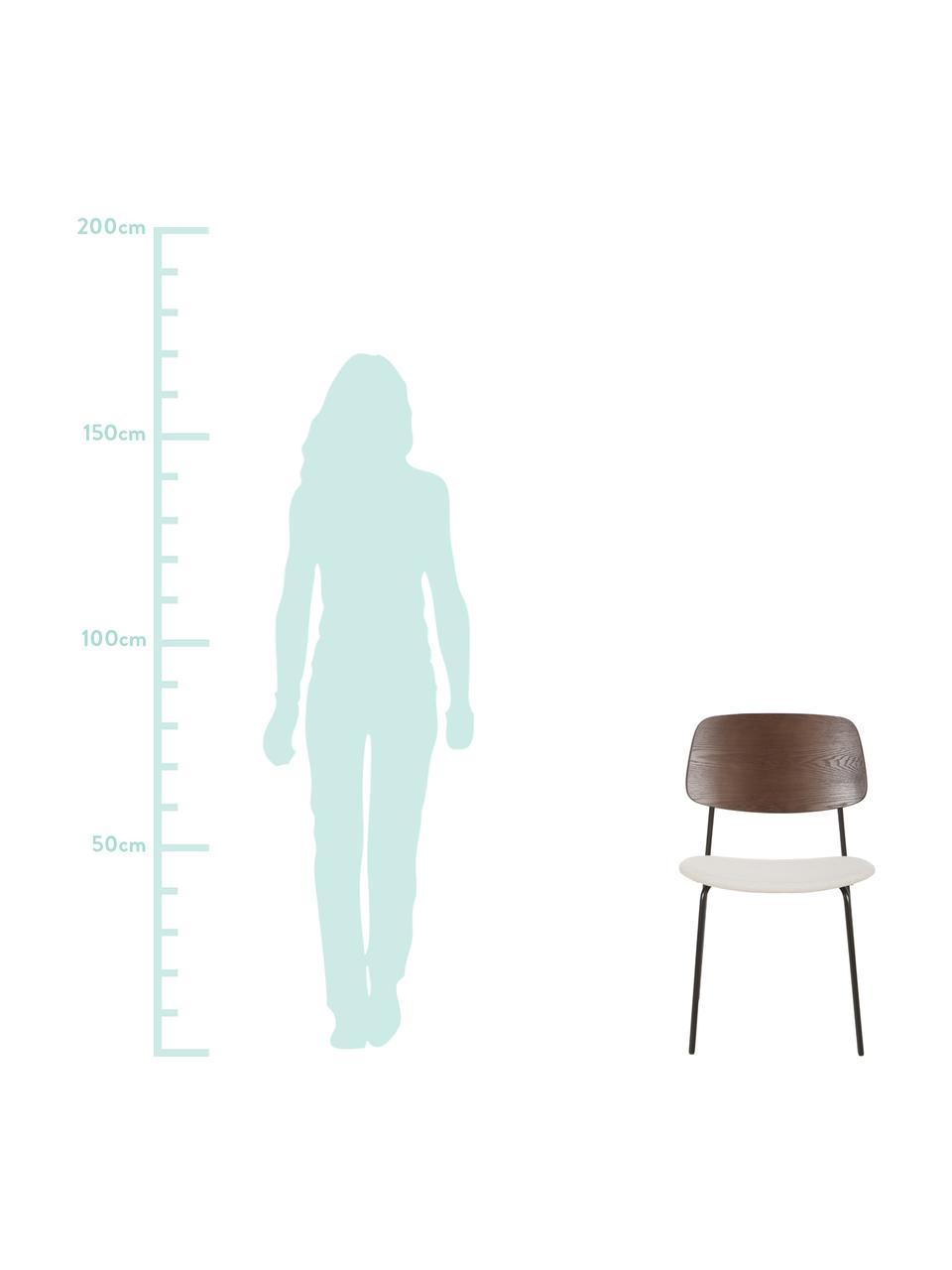 Holzstühle Nadja mit gepolsteter Sitzfläche, 2 Stück, Bezug: Polyester Der strapazierf, Rückenlehne: Sperrholz mit Eschenholzf, Beine: Metall, pulverbeschichtet, Cremeweiß, B 51 x T 52 cm