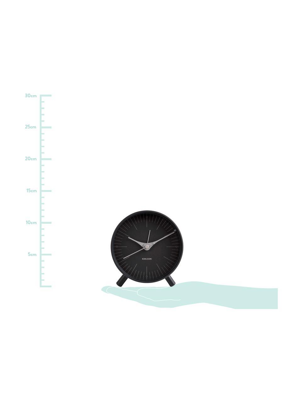Budzik Index, Metal powlekany, Czarny, szary, Ø 11 cm