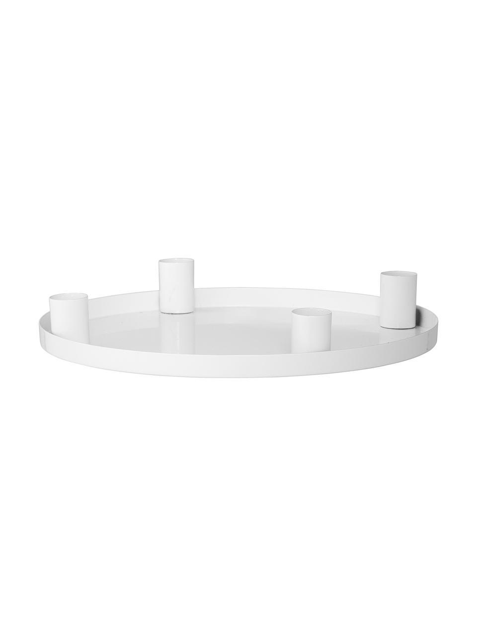 Kerzenhalter Advent, Metall, beschichtet, Weiß, Ø 25 x H 4 cm