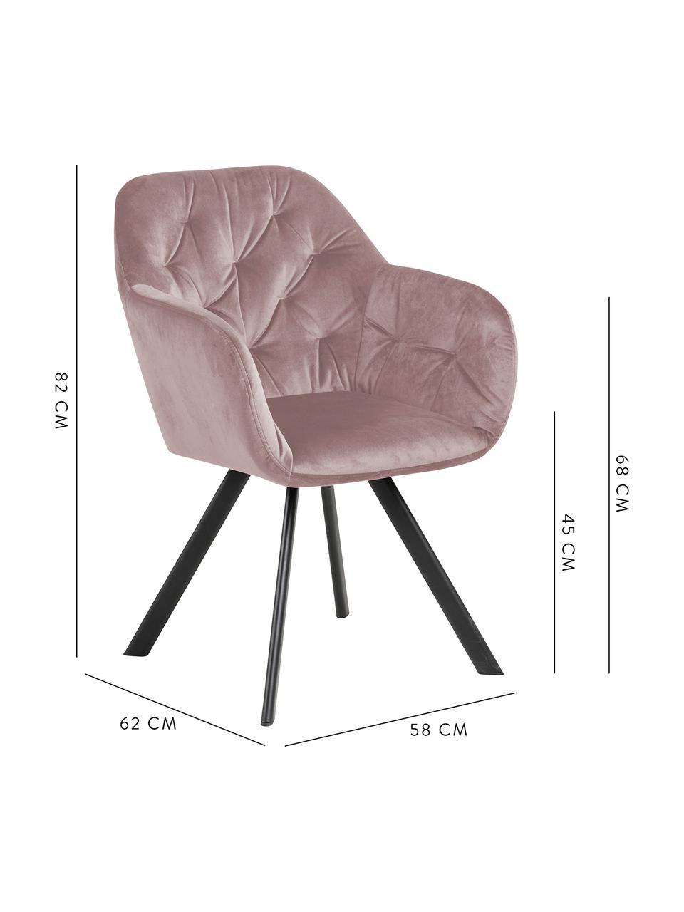 Chaise pivotante en velours et à accoudoirs Lucie, Vieux rose, noir