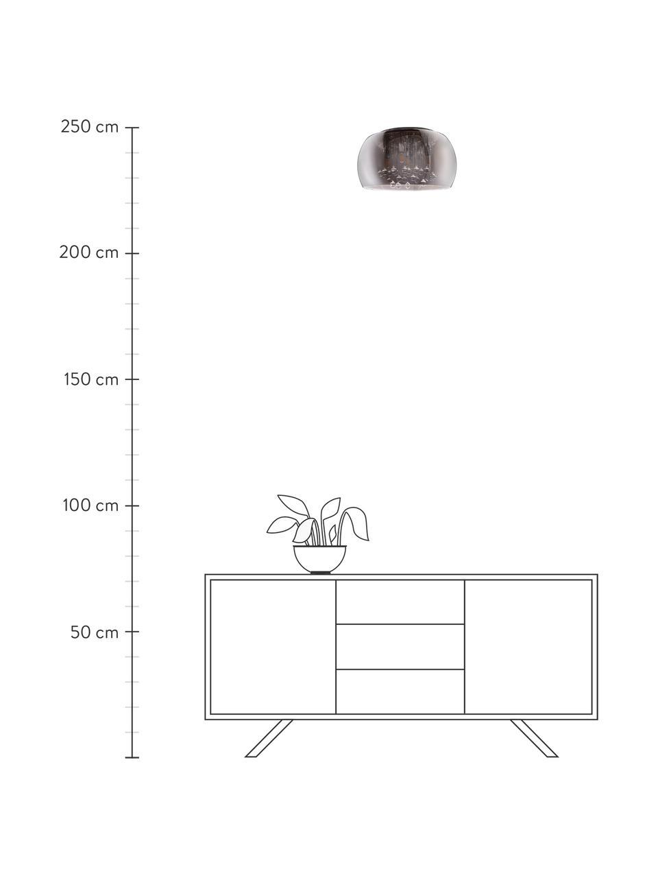 Kristall-Deckenleuchte Pearl aus Glas, Lampenschirm: Glas, Baldachin: Metall, Dunkelgrau, verspiegelt, Ø 40 x H 21 cm