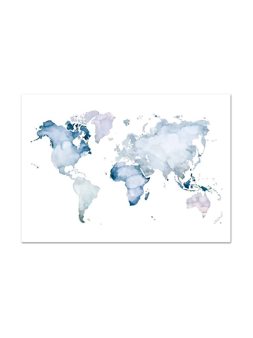Póster World Map, Impresión digital sobre papel, 200 g/m², Azul, blanco, An 30 x Al 21 cm