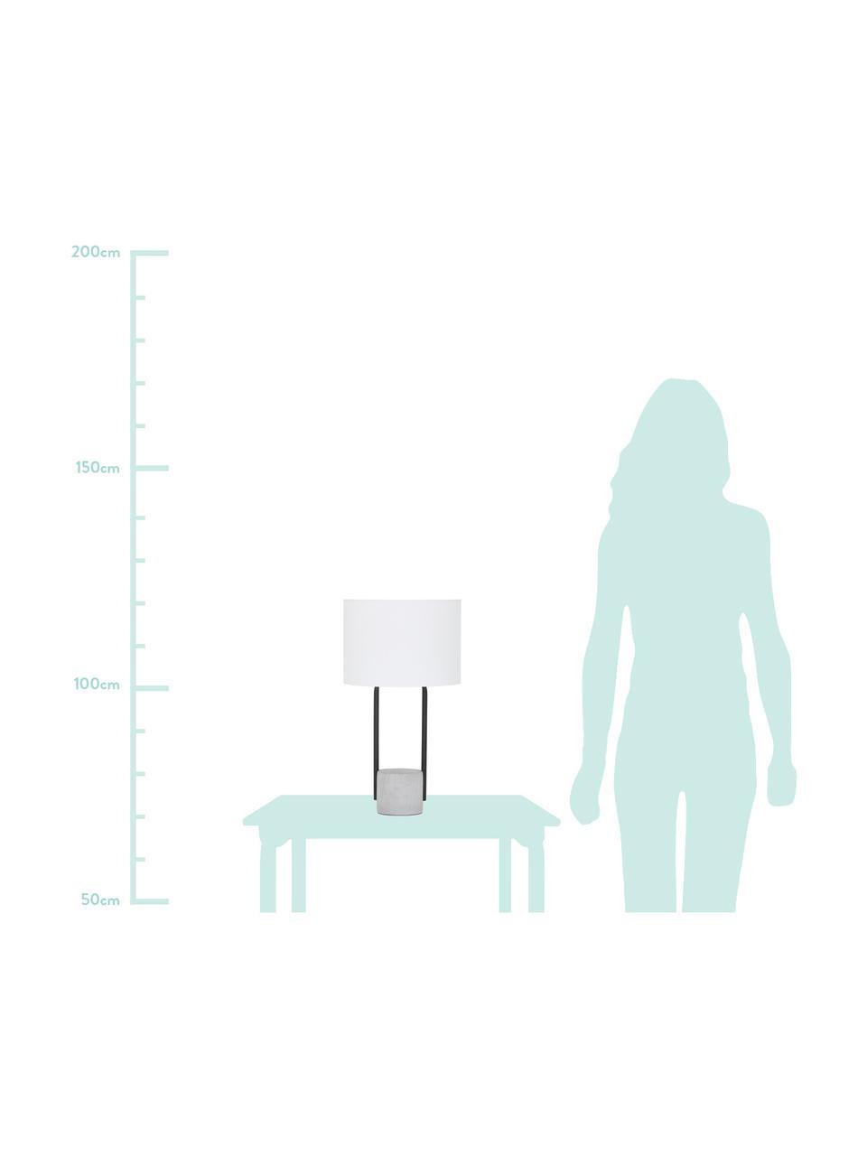 Lampada da tavolo con base in cemento Pipero, Paralume: tessuto, Base della lampada: metallo verniciato a polv, Paralume: bianco Base della lampada: nero opaco, grigio Cavo: nero, Ø 28 x Alt. 51 cm