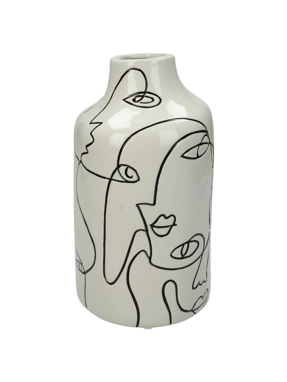 Vase Faces aus Steingut, Steingut, Gebrochenes Weiß, Schwarz, Ø 11 x H 21 cm