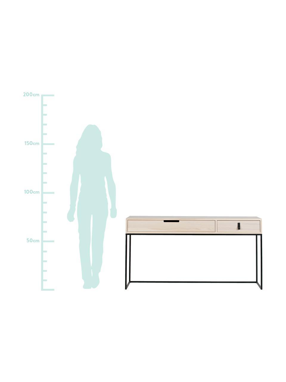 Consolle con 2 cassetti Silas, Struttura: metallo verniciato, Legno di frassino, nero, Larg. 140 x Prof. 40 cm