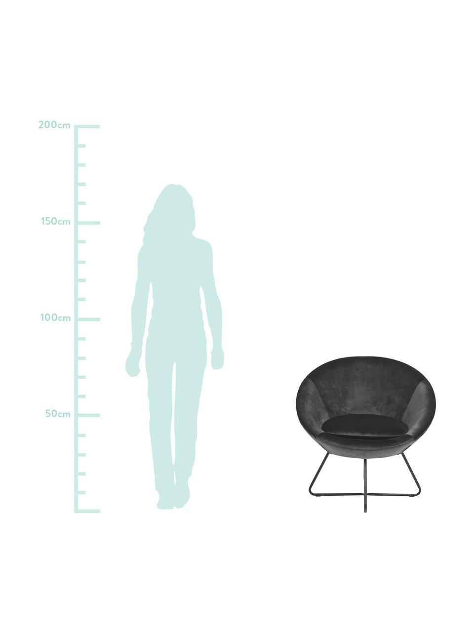 Fluwelen fauteuil Center in grijs, Bekleding: polyester fluweel, Frame: gepoedercoat metaal, Donkergrijs, zwart, 82 x 71 cm