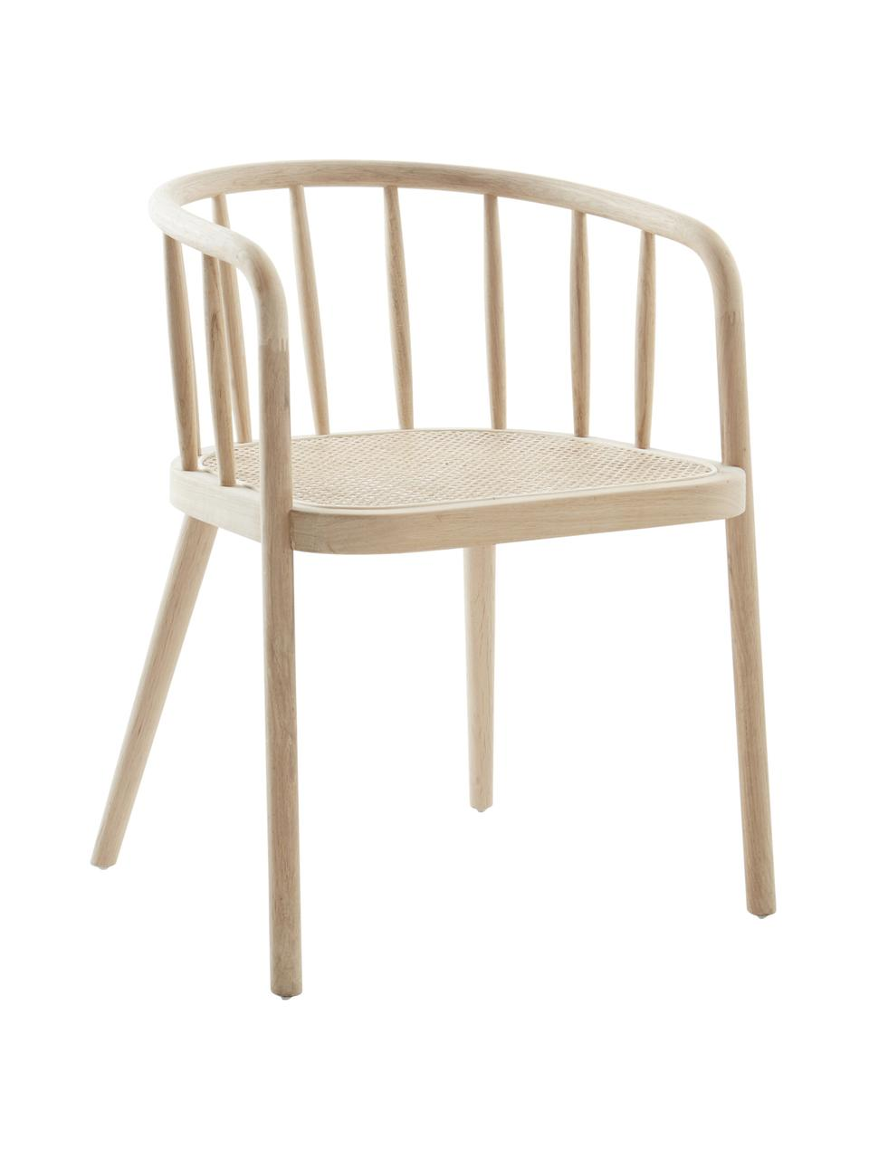 Holzstuhl Stocksund mit Wiener Geflecht, Rahmen: Eichenholz, lackiert, Sitzfläche: Rattan, Beige, B 56 x T 54 cm