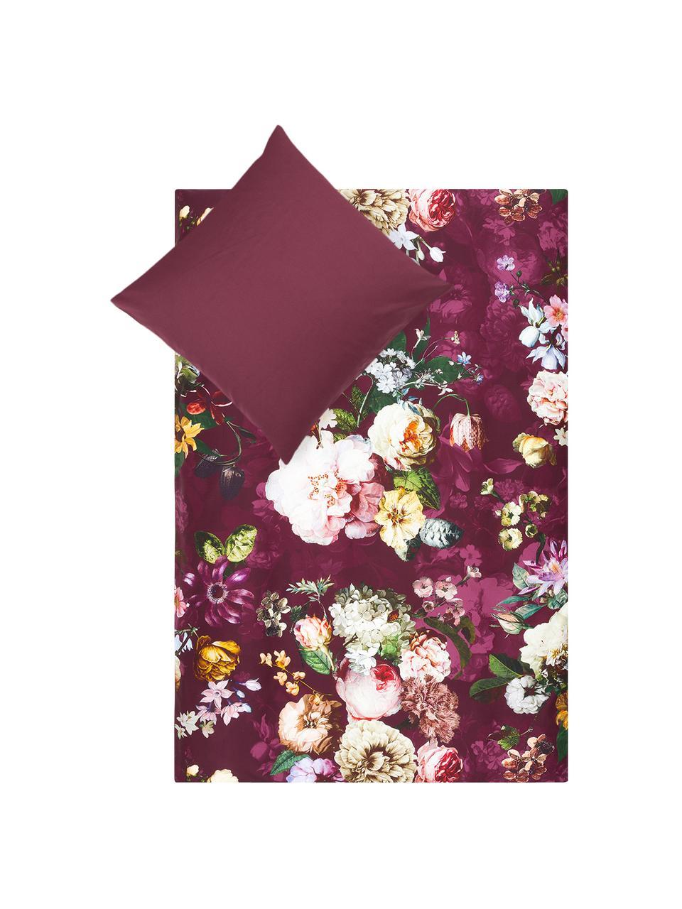 Baumwollsatin-Bettwäsche Fleur mit Blumen-Muster, Webart: Satin Fadendichte 209 TC,, Burgund, Mehrfarbig (Weiß, Grün, Gelb), 135 x 200 cm + 1 Kissen 80 x 80 cm