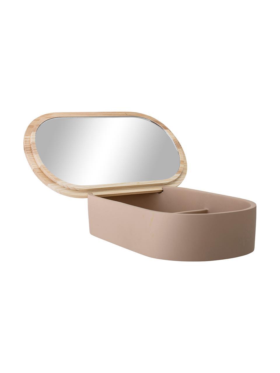 Sieradendoos Noah, Doos: polyresin, Deksel: essenhout, Oudroze, essenhout , spiegelglas, 23 x 6 cm