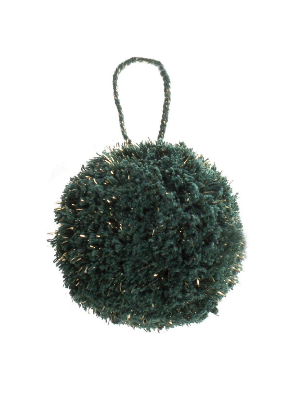Ciondolo Pompon, 2 pz., Cotone con filo di lurex, Petrolio, dorato, Ø 8 x Alt. 14 cm