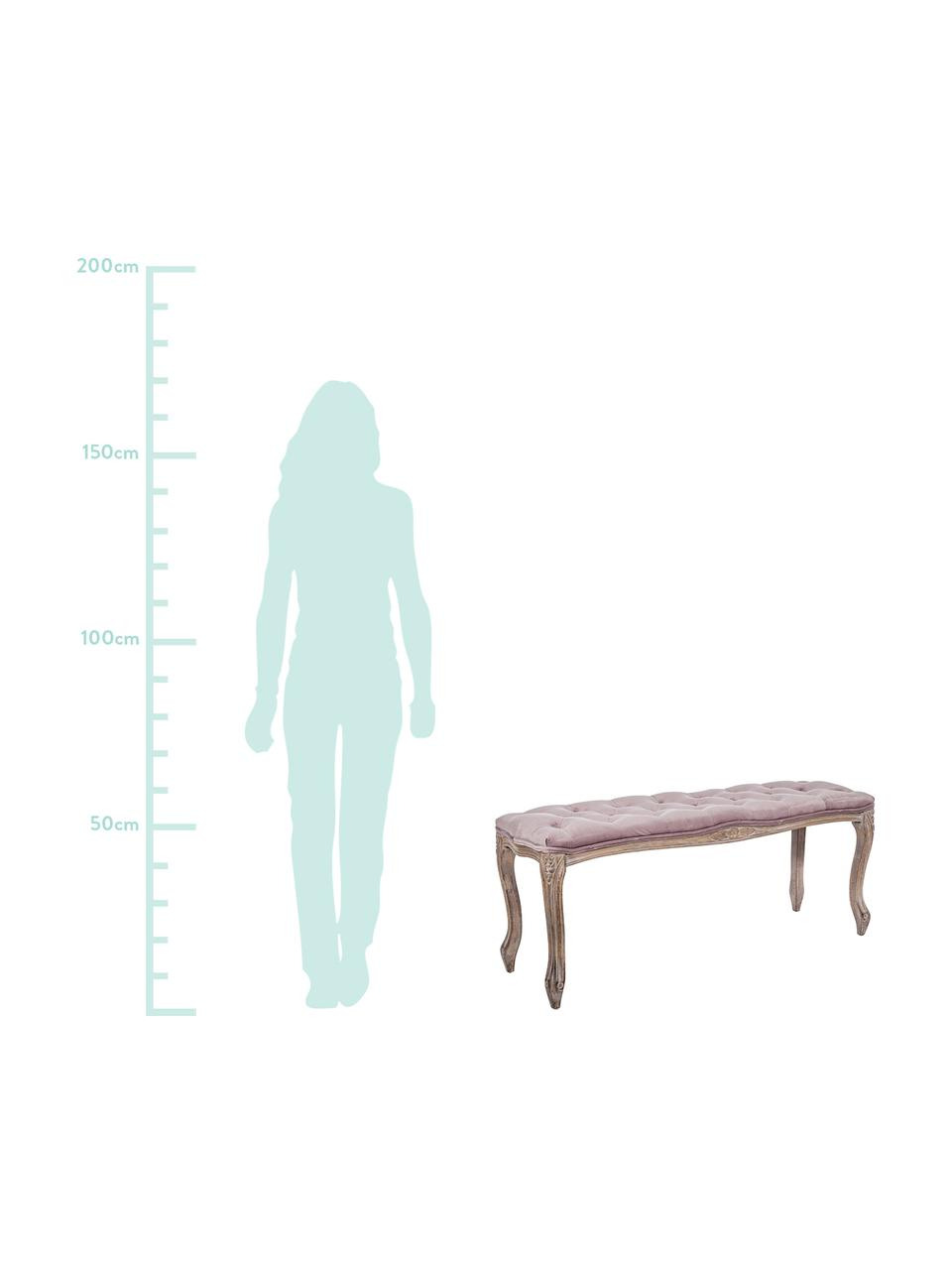 Samt-Sitzbank Mathilde im Barock Stil, Bezug: Polyestersamt 35.000 Sche, Gestell: Birkenholz, Nitrozellulos, Altrosa, Birkenholz, 110 x 47 cm