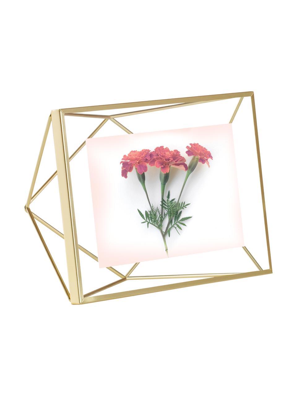 Portafoto da tavolo ottonato Prisma, Cornice: acciaio, Ottone, 10 x 15 cm