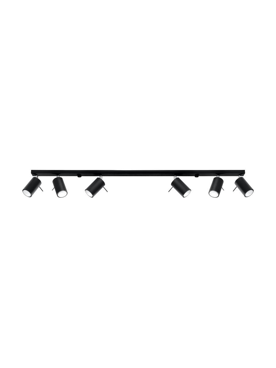 Faretti da soffitto neri Etna, Acciaio, Nero, Larg. 117 x Alt. 16 cm