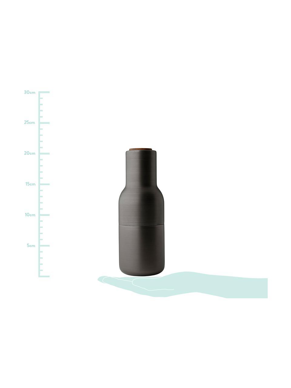 Designer Salz- & Pfeffermühle Bottle Grinder in Anthrazit mit Walnussholzdeckel, Korpus: Stahl, vermessingt und ge, Mahlwerk: Keramik, Deckel: Walnussbaumholz, Anthrazit, Ø 8 x H 21 cm