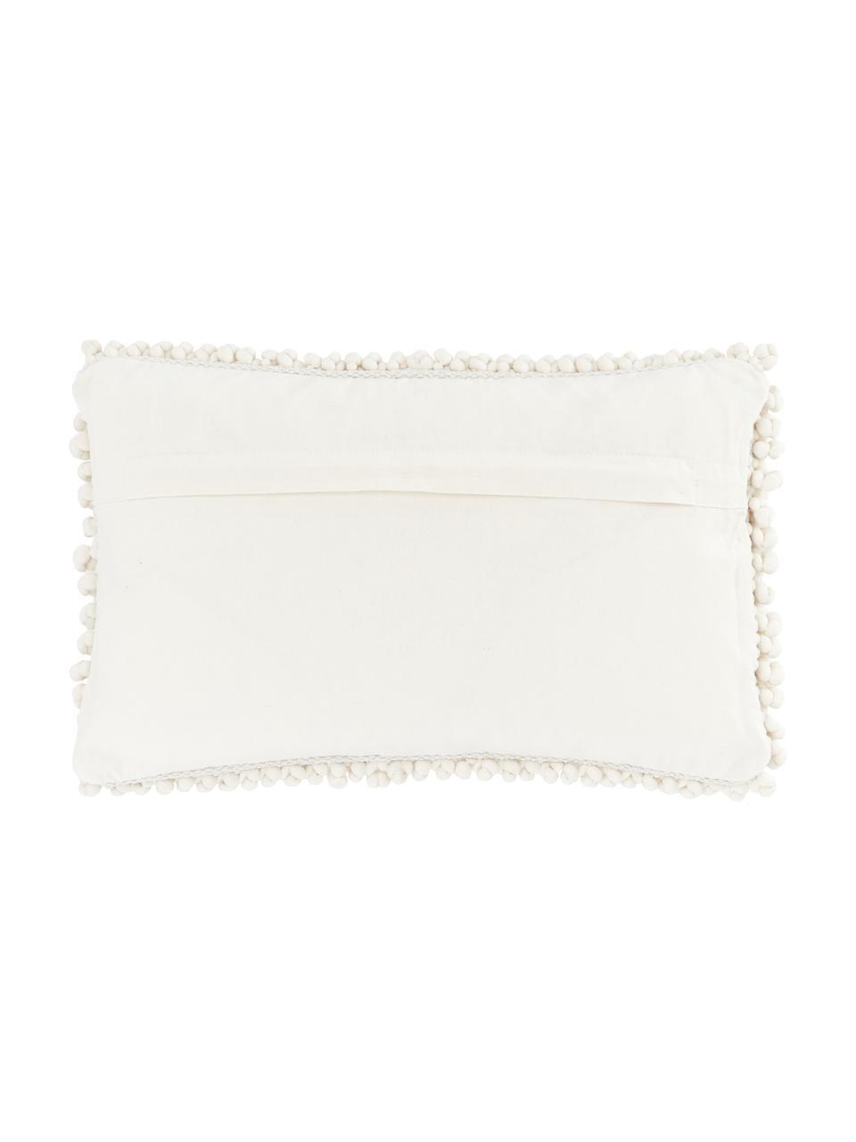 Federa arredo bianco crema con palline di tessuto Iona, Retro: 100% cotone, Beige, Larg. 30 x Lung. 50 cm