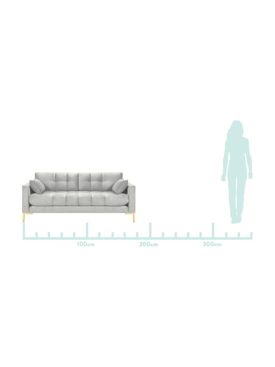 Sofa z aksamitu Mamaia (2-osobowa), Tapicerka: aksamit poliestrowy Dzięk, Stelaż: lite drewno sosnowe, skle, Nogi: metal lakierowany, Odcienie srebrnego, S 177 x G 92 cm
