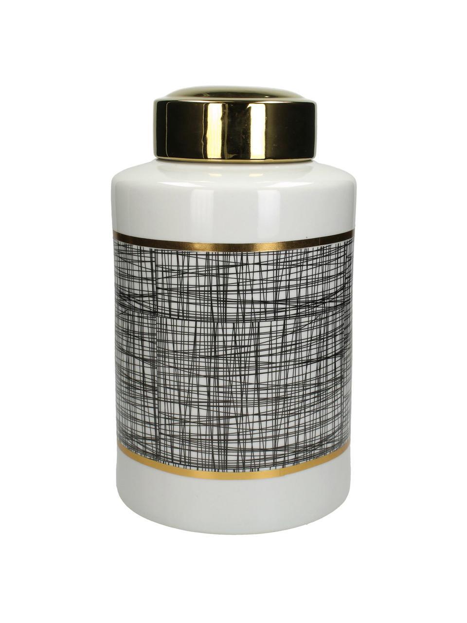 Aufbewahrungsdose Lines, Porzellan, Schwarz, Weiß, Goldfarben, Ø 20 x H 40 cm