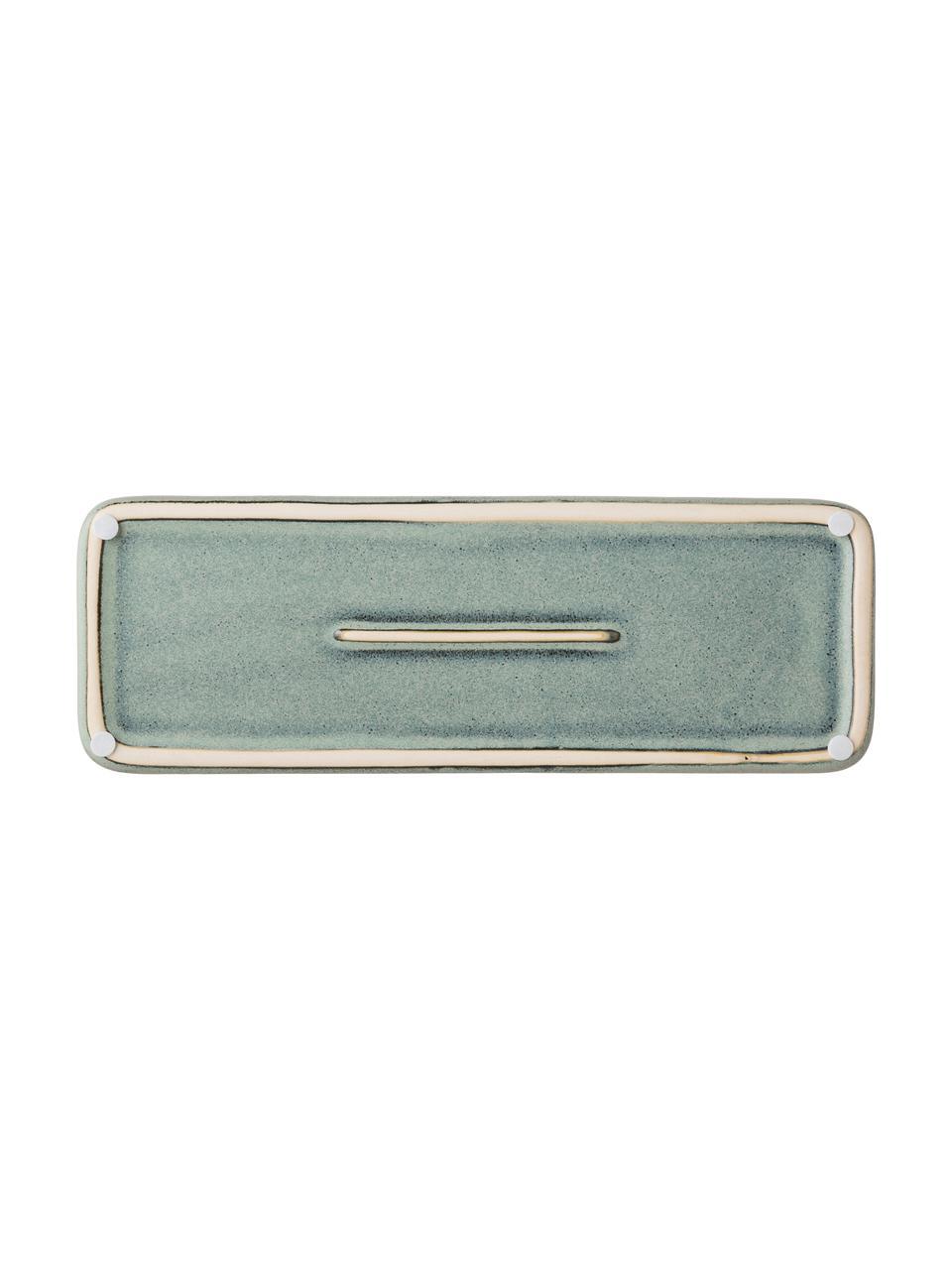 Vassoio Mila, Ceramica smaltata, Verde grigio, Lung. 27 x Alt. 3 cm