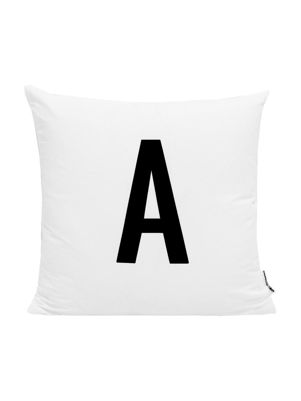 Funda de cojín Alphabet (variantes de A a Z), 100%poliéster, Negro, blanco, Variante M