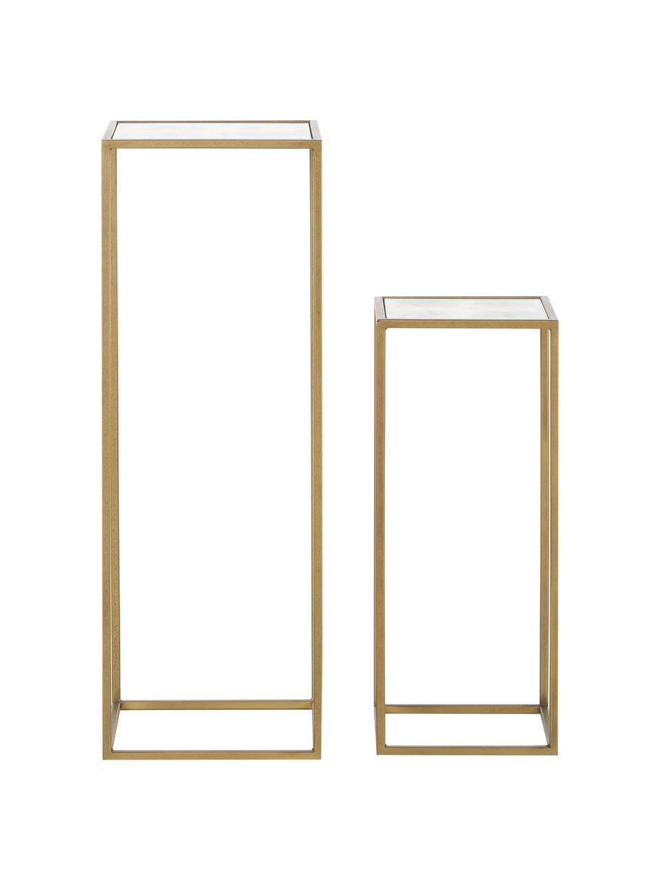 Set 2 tavolini con piano in vetro  Honey, Struttura: metallo verniciato, Piano d'appoggio: lastra di vetro, opaco, Ottone, Set in varie misure