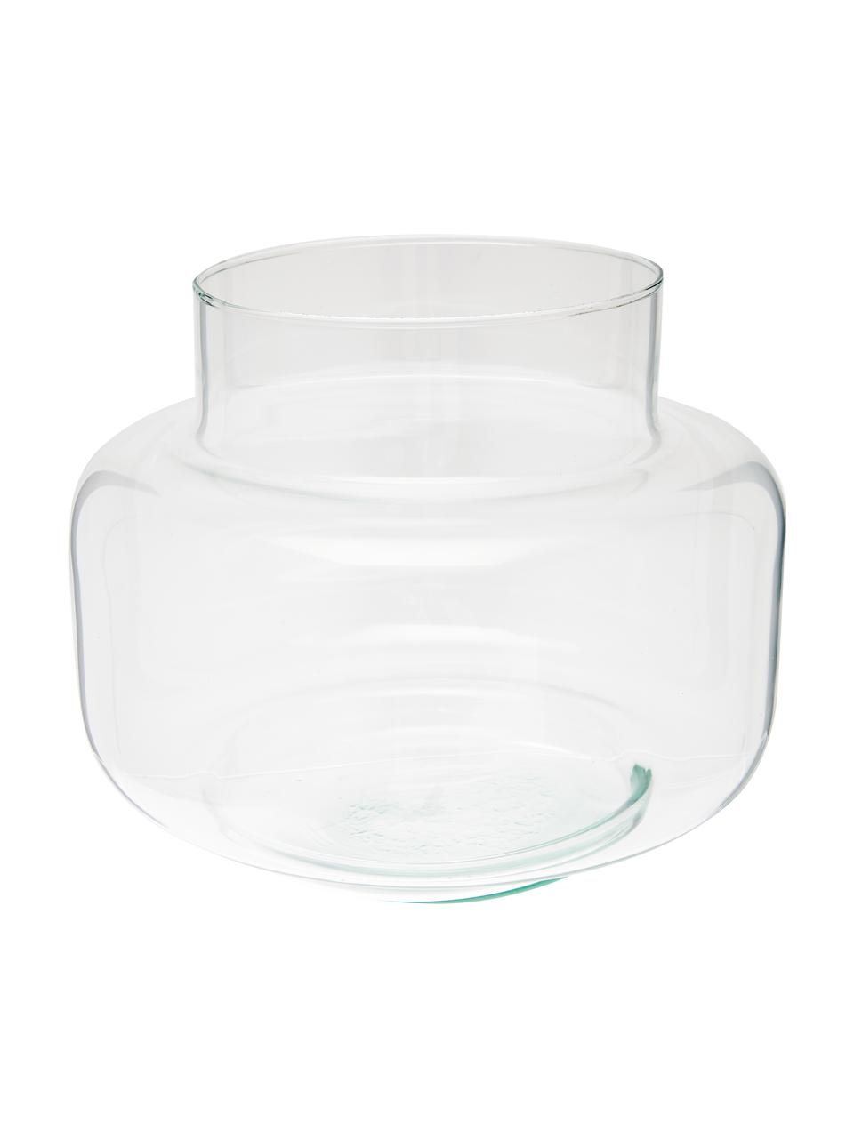 Vase Dalia aus recyceltem Glas, Recyceltes Glas, Transparent, Ø 22 x H 18 cm