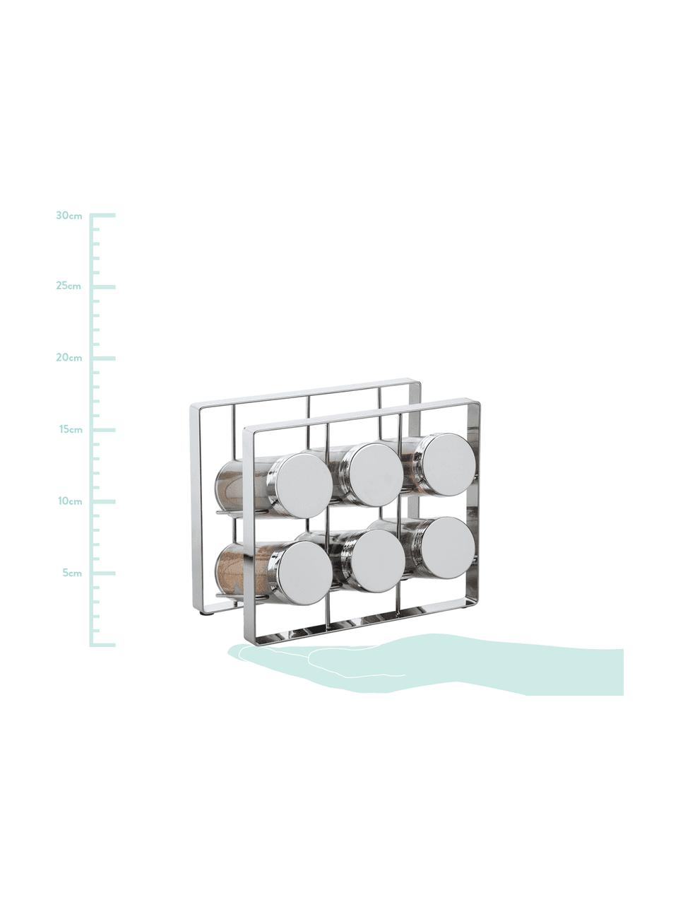 Gewürzregal mit Aufbewahrungsdosen Spices B 18 x H 15 cm, 7-tlg., Gestell: Metall, lackiert, Dosen: Glas, Deckel: Aluminium, lackiert, Silberfarben, 18 x 15 cm