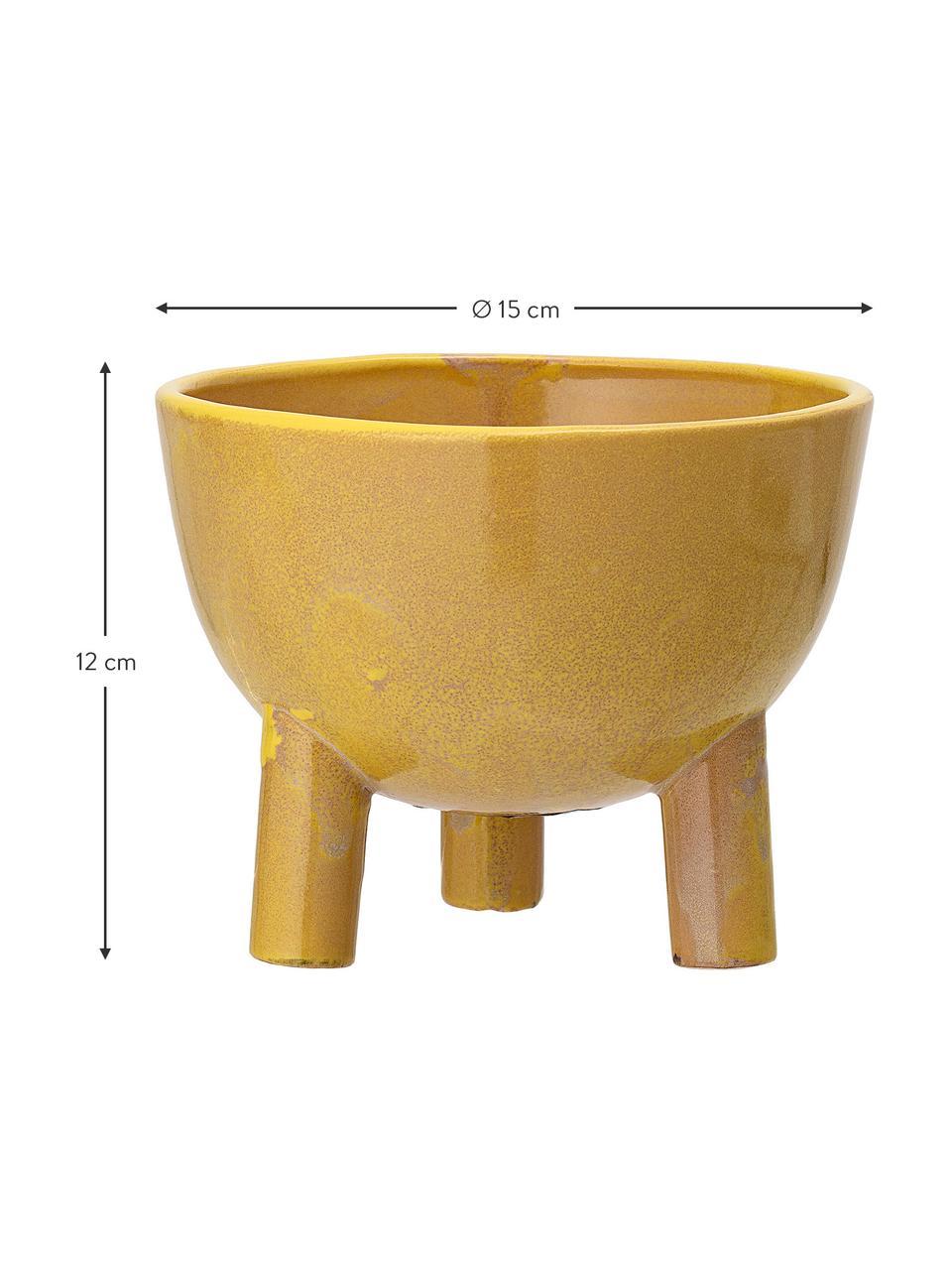 Kleiner handgefertigter Übertopf Aaren aus Steingut, Steingut, Gelb, Ø 15 x H 12 cm