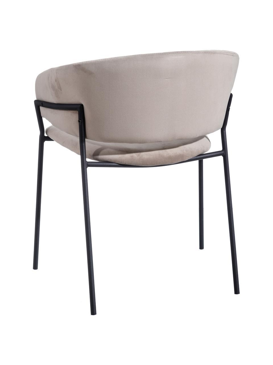 Samt-Polsterstuhl Room in Hellgrau, Bezug: 100% Polyestersamt, Gestell: Metall, beschichtet, Grau, B 53 x T 58 cm