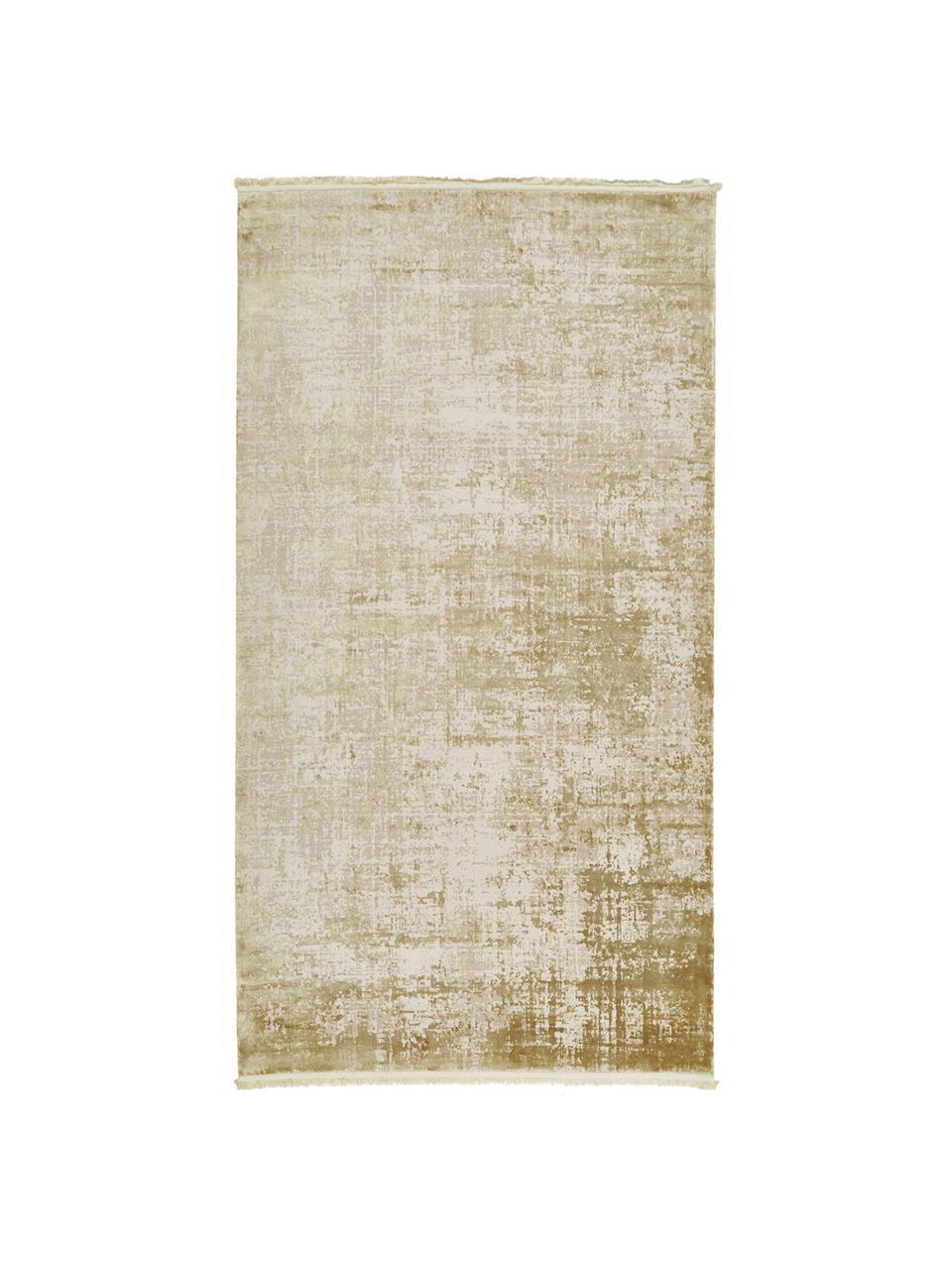 Tappeto vintage con frange effetto lucido Cordoba, Retro: cotone, Verde oliva, beige, Larg. 80 x Lung. 150 cm (taglia XS)