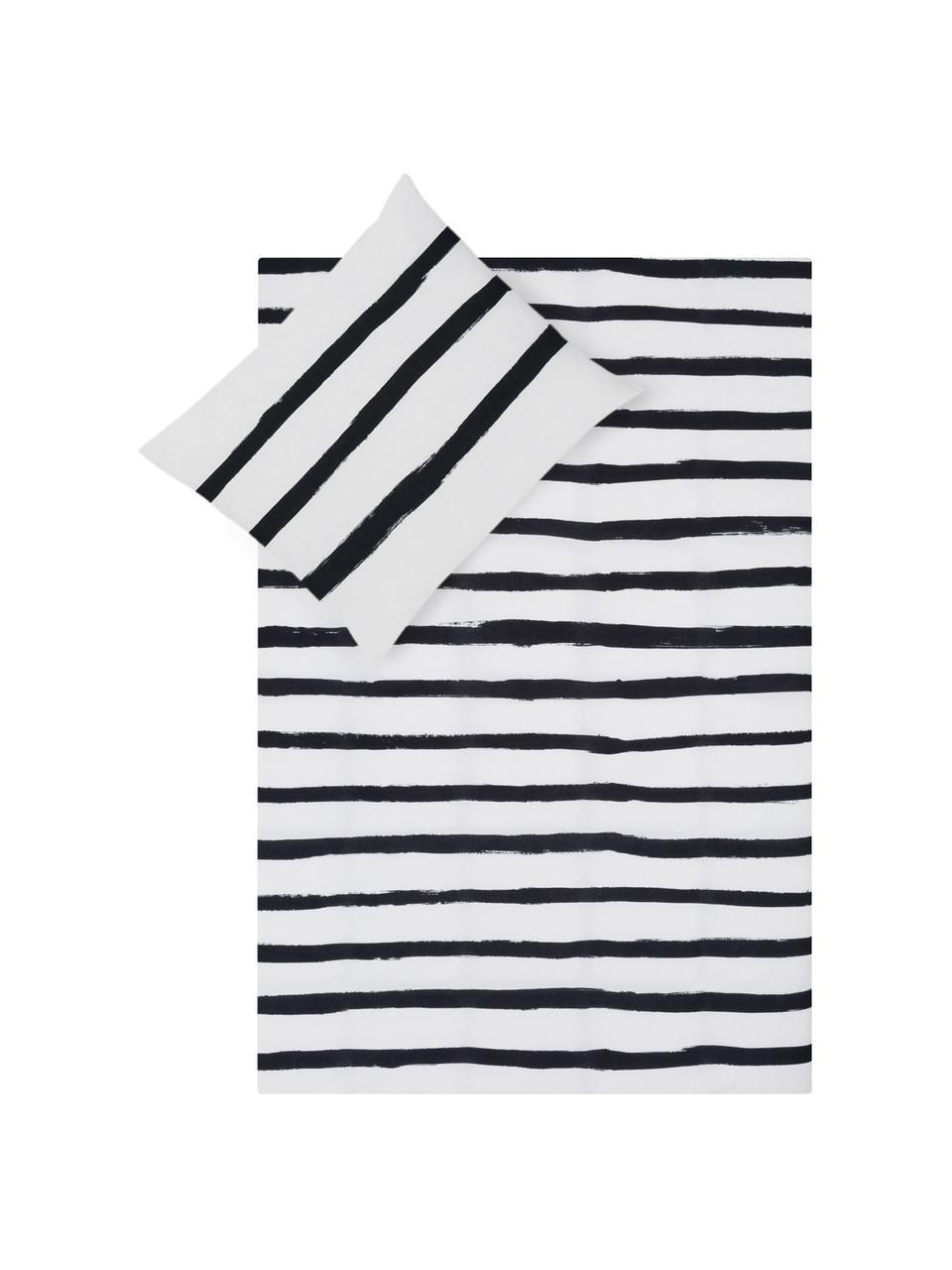 Dubbelzijdig dekbedovertrek Stripes, Katoen, Bovenzijde: wit, zwart. Onderzijde: wit, 140 x 200 cm