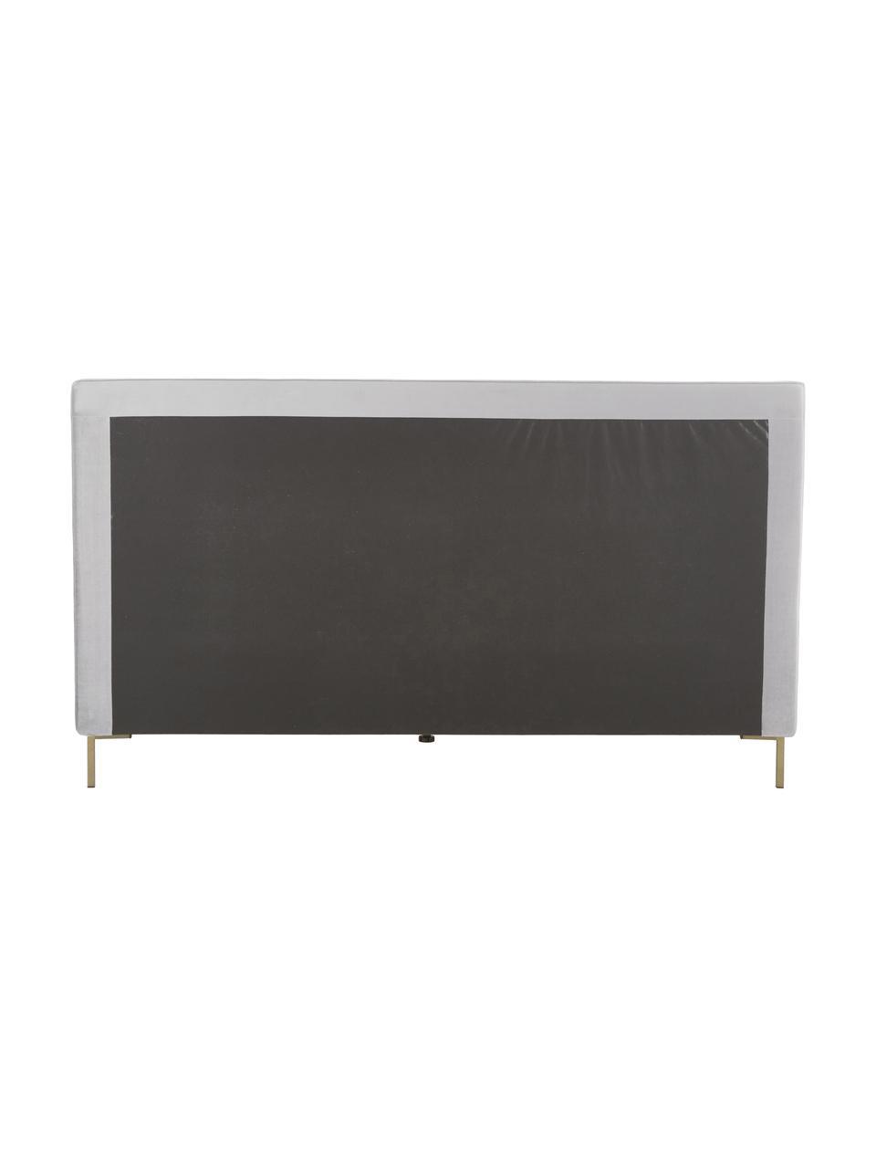Gestoffeerd fluwelen bed Peace, Frame: massief grenenhout, Poten: gepoedercoat metaal, Bekleding: polyester fluweel, Fluweel lichtgrijs, 200 x 200 cm