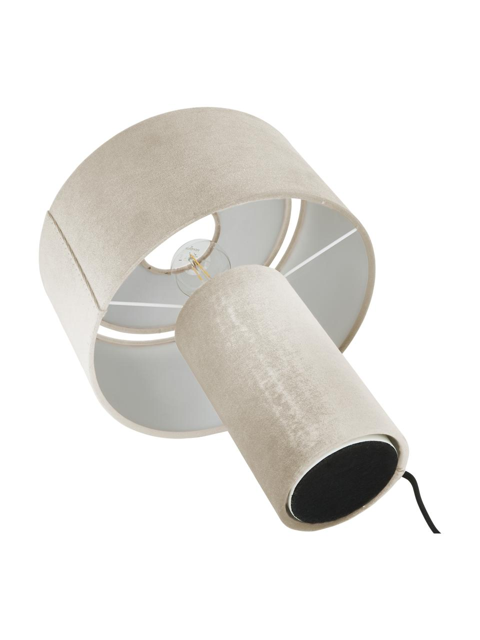 Samt-Tischlampe Frida, Lampenfuß: Kunststoff mit Samtbezug, Lampenschirm: Samt, Beige, Ø 30 x H 36 cm