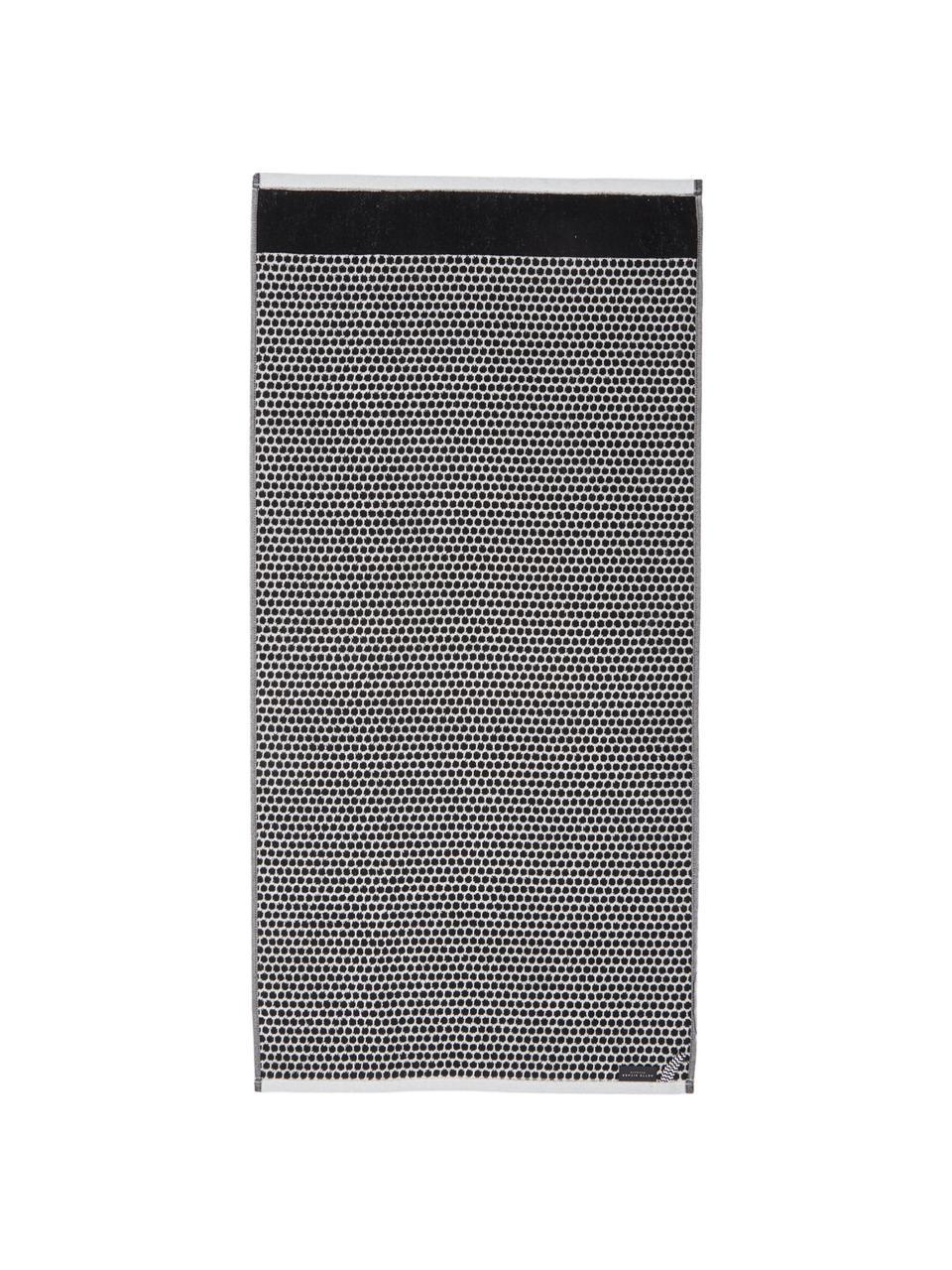 Gepunktetes Handtuch Grid, verschiedene Größen, Schwarz, Gebrochenes Weiß, Gästehandtuch