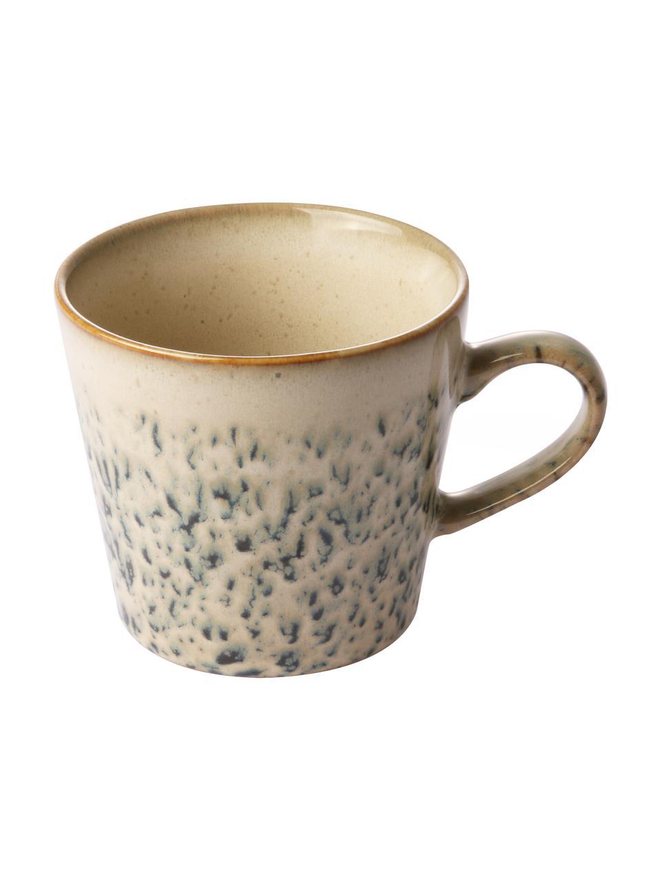 Handgemachte Cappuccinotassen 70's im Retro Style, 4 Stück, Steingut, Grün, Weiß, Ø 12 x H 9 cm