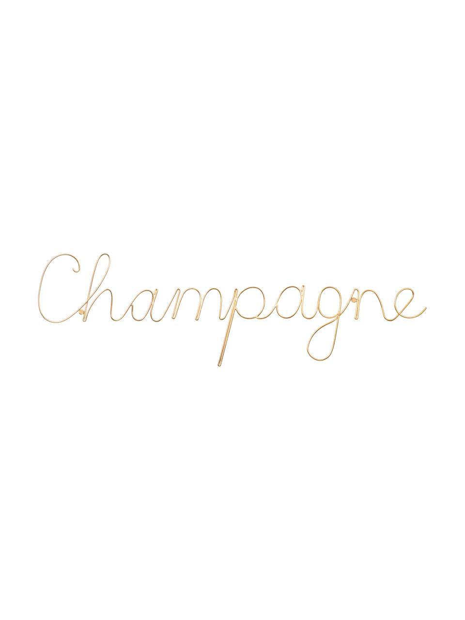 Décoration murale en aluminium Champagne, Couleur dorée