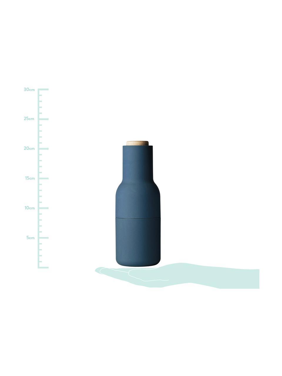 Designer Salz- & Pfeffermühle Bottle Grinder mit Holzdeckel, Korpus: Kunststoff, Mahlwerk: Keramik, Deckel: Holz, Blau, Hellblau, Braun, Ø 8 x H 21 cm