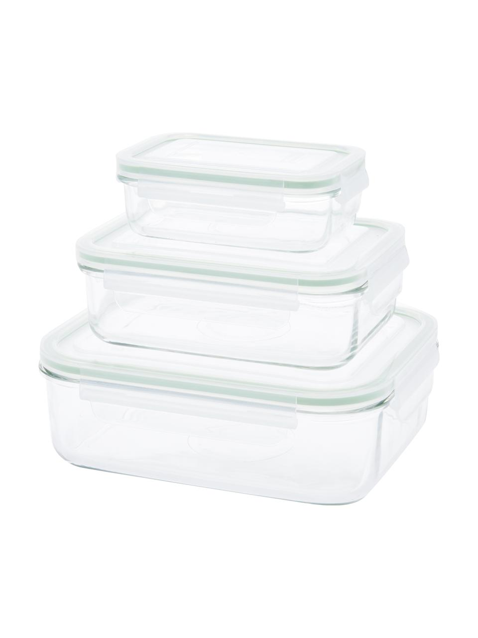 Set 3 contenitori per alimenti Alma, Contenitore: vetro temperato, privo di, Trasparente, verde chiaro, Set in varie misure