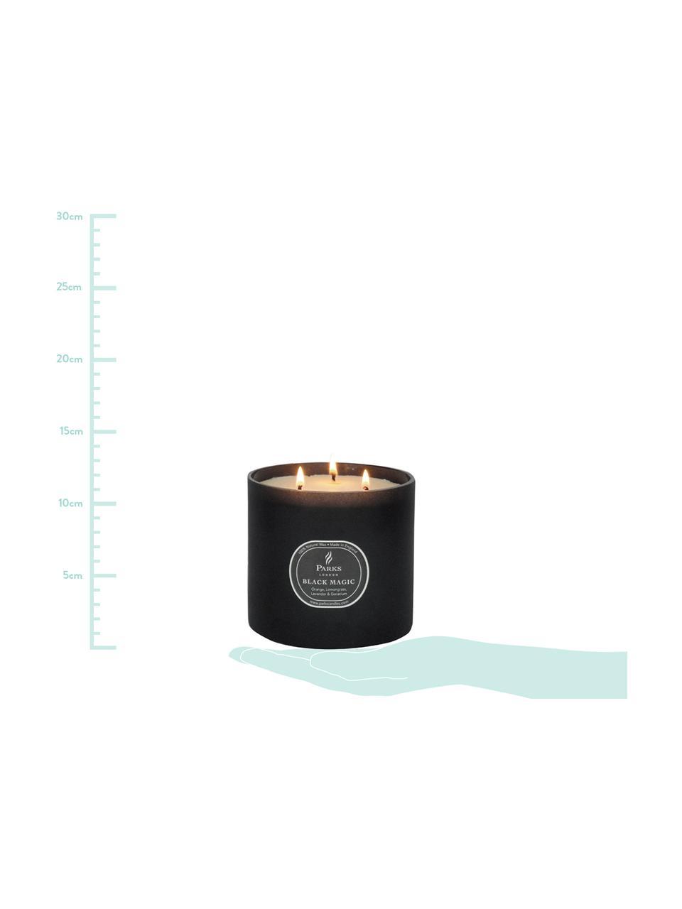 Candela profumata a tre stoppini Black Magic (arancio & citronella), Contenitore: vetro, Nero, crema, Ø 12 x Alt. 11 cm