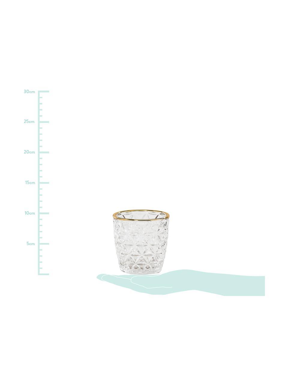 Teelichthalter-Set Adore, 3-tlg., Glas, lackiert, Transparent, Goldfarben, Ø 9 x H 9 cm