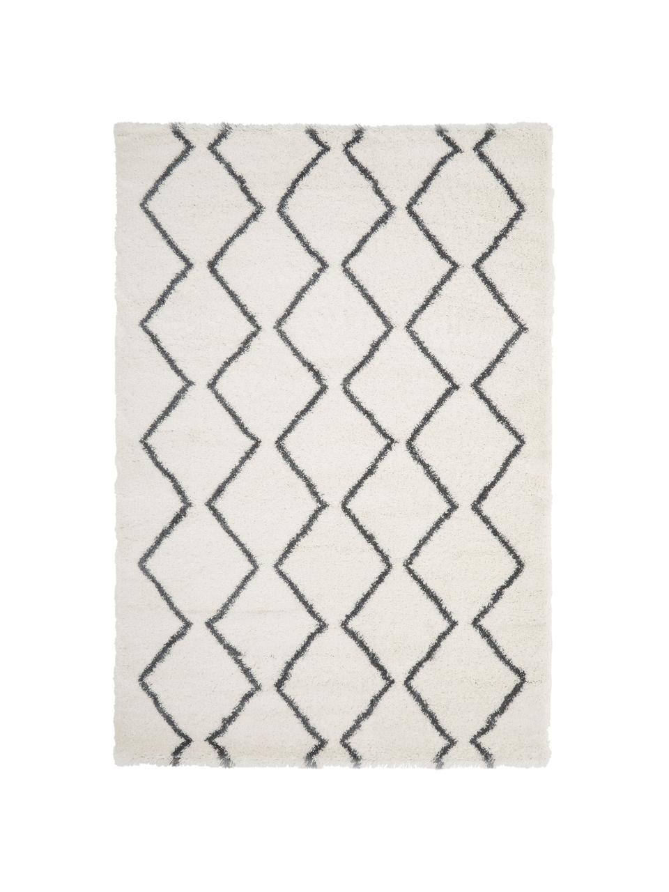 Flauschiger Hochflor-Teppich Velma in Cremeweiß/Dunkelgrau, Flor: 100% Polypropylen, Cremeweiß, Dunkelgrau, B 300 x L 400 cm (Größe XL)