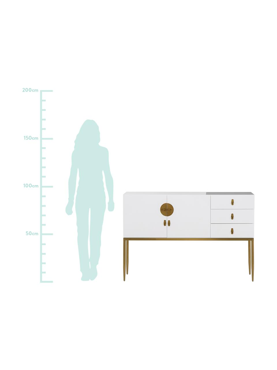 Komoda z wysokim połyskiem Classy, Korpus: płyta pilśniowa średniej , Korpus: biały, wysoki połysk Okucie i nogi: odcienie złotego, S 135 x W 92 cm
