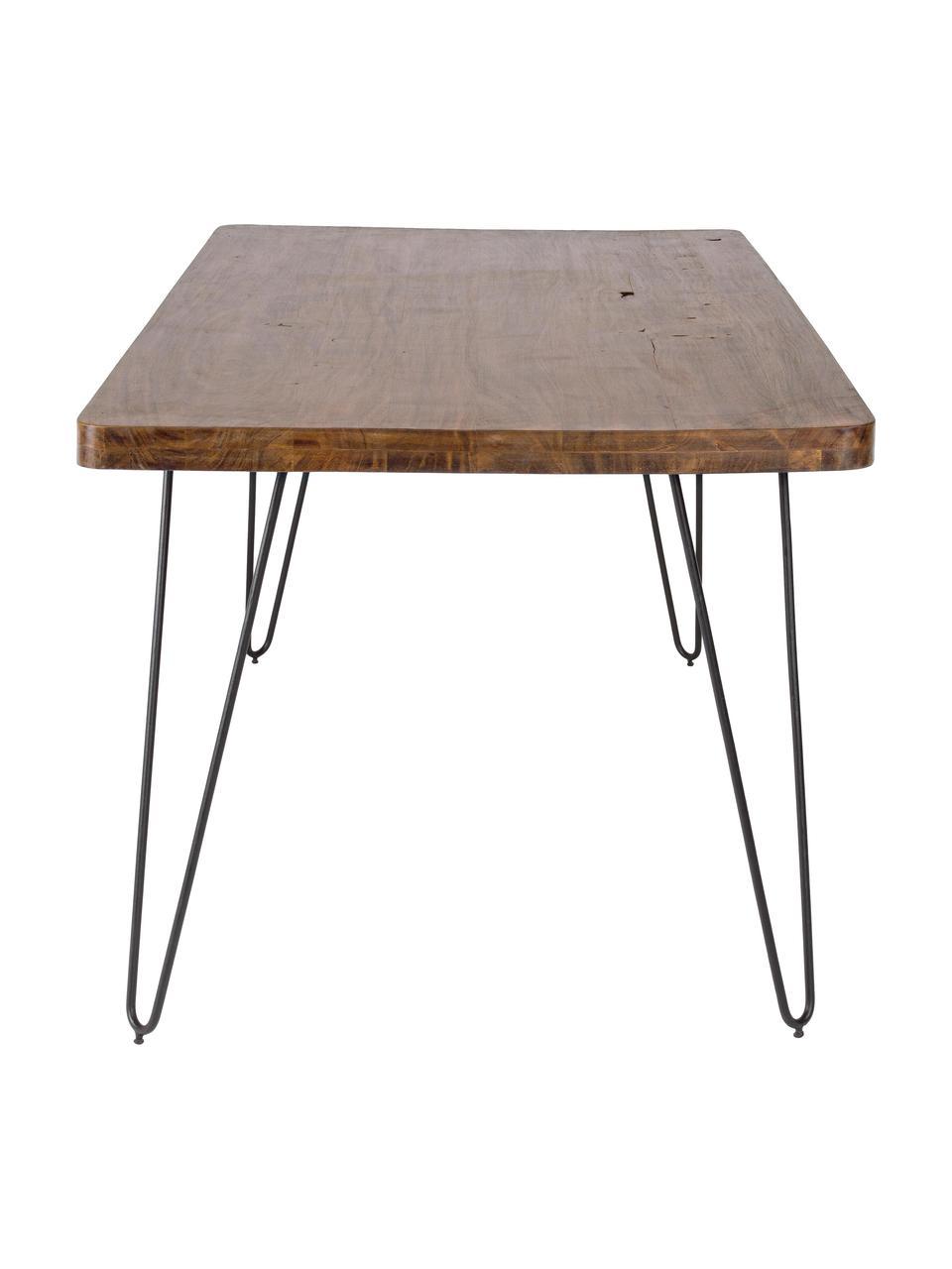 Table en bois massif et pieds en métal Edgar, Bois d'acacia, noir