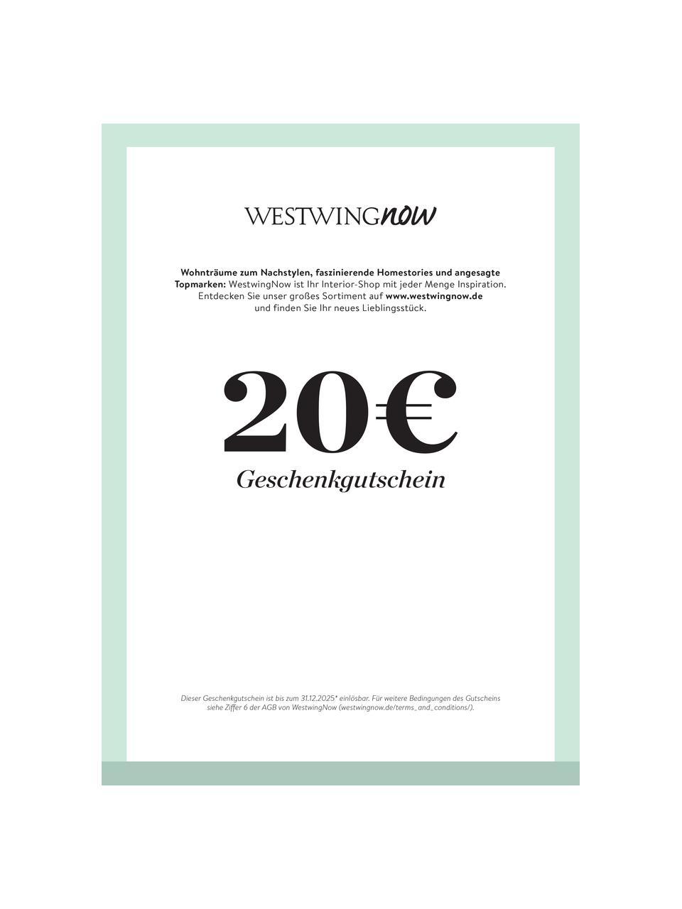 Gutschein zum Ausdrucken, Digitaler Gutschein, nach Zahlungseingang erhalten Sie eine E-Mail mit dem Link zu Ihrem Gutschein. Einfach PDF-Datei abspeichern und ausdrucken., Türkis, 20