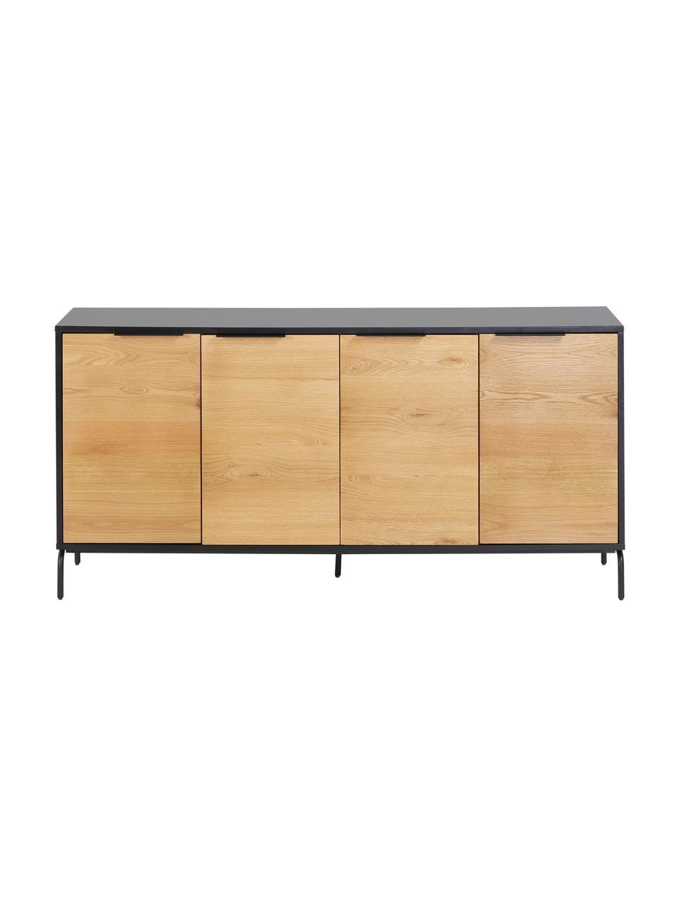 Sideboard Stellar mit Türen aus Eichenholzfurnier, Korpus: Mitteldichte Holzfaserpla, Schwarz, Eichenholz, 165 x 80 cm
