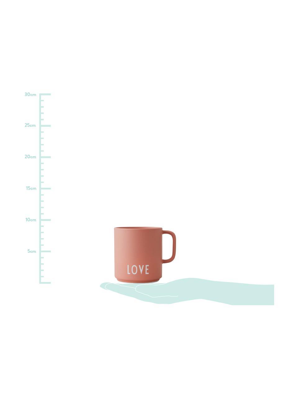 Design Kaffeetasse Favourite LOVE in Terrakotta mit Schriftzug, Fine Bone China (Porzellan), Terrakotta, Weiß, Ø 10 x H 9 cm