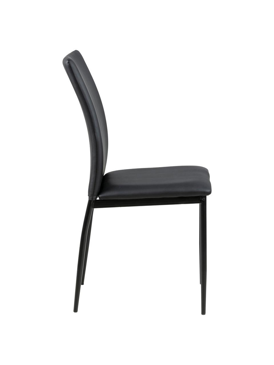 Kunstleder-Stuhl Demina, Bezug: Polyurethan (PU-Leder), Beine: Metall, pulverbeschichtet, Schwarz, B 44 x T 53 cm