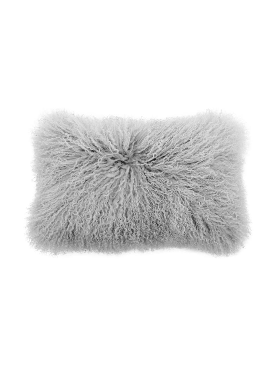 Federa arredo in pelliccia d'agnello a pelo lungo Ella, Retro: 100% poliestere, Grigio chiaro, Larg. 30 x Lung. 50 cm